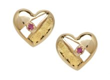 Gold Nugget Heart With Ruby Stud Earring