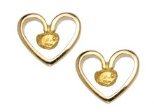 Gold Nugget Hollow Heart Stud Earring