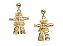Gold Nugget Inukshuk Dangle Earring