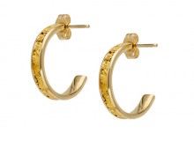 Narrow Sluice Gold Nugget Earrings