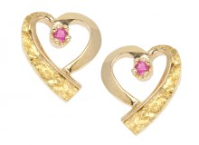 Gold Nugget Heart Earring with Ruby